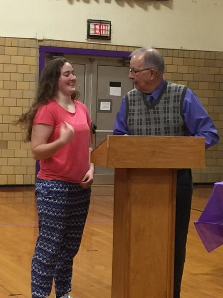 CHS athlete recognized for achievements by board member Roger Samuelson