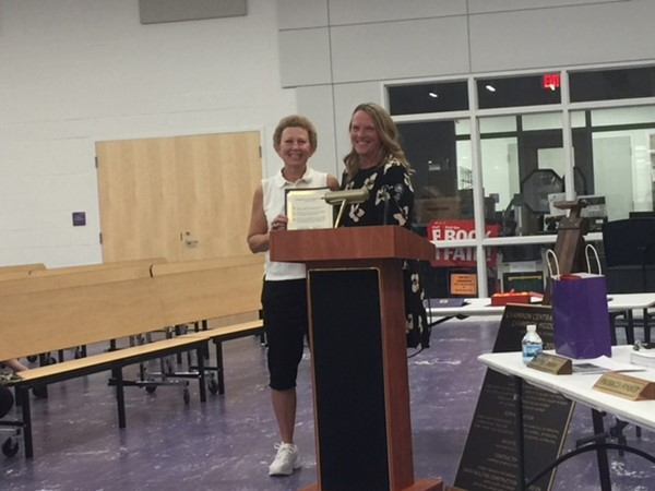 Mrs Fisher, Board member recognized Coach Weaver