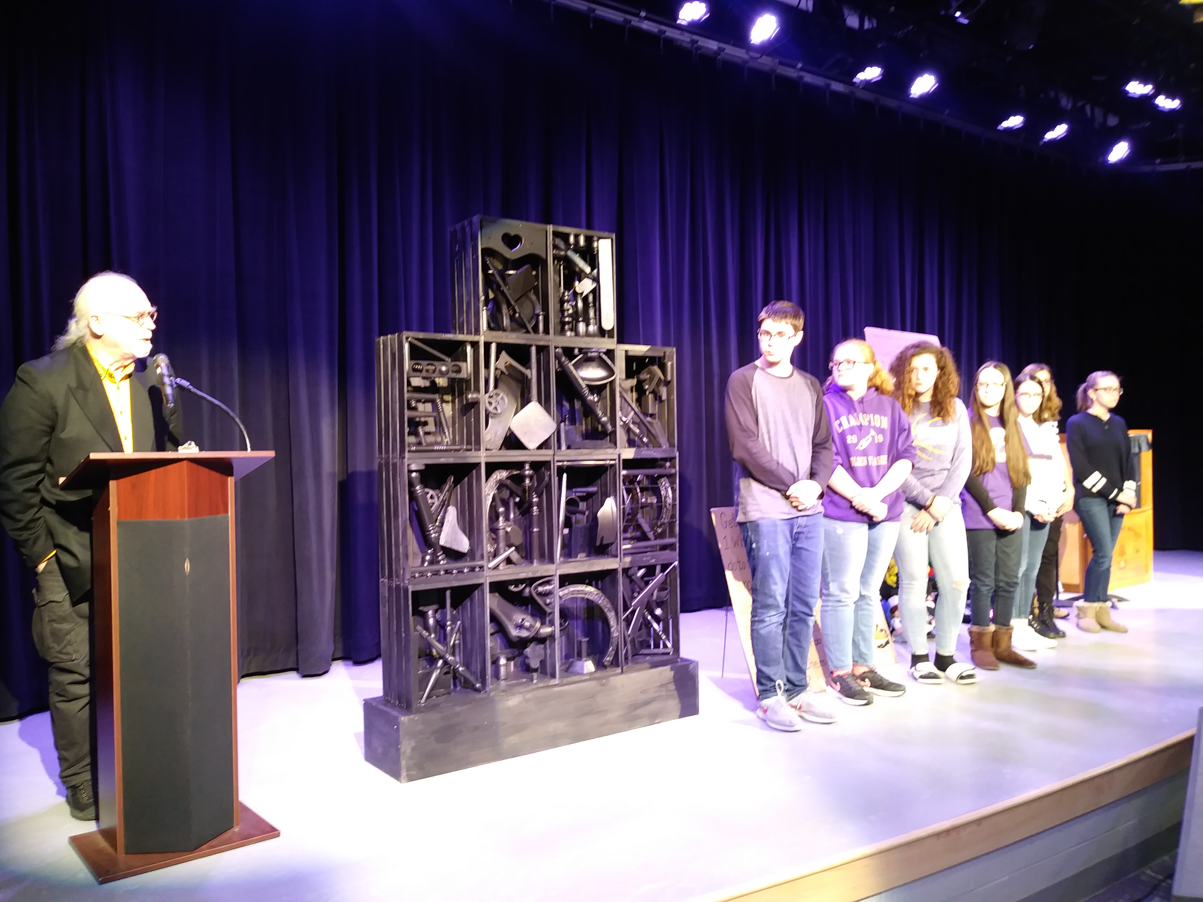 CMS students present on their collaboration with the Butler Institute of Art and CHS students to create a piece of artwork in the style of Louise Nevelson.