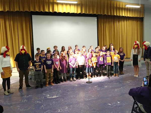 "CHS Spanish 4 and CES 2nd grade students sing ""Pio Pio Pio"" at the State of Schools Forum."