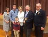 (l to r) Mrs. Sue Stingel, Mistress of Ceremony, the Veres family and Chief John Hickey, Rotary President
