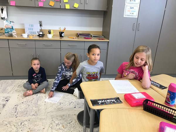 Fifth grade students came over to Central to spend some time with Mrs. Wilson's first graders.
