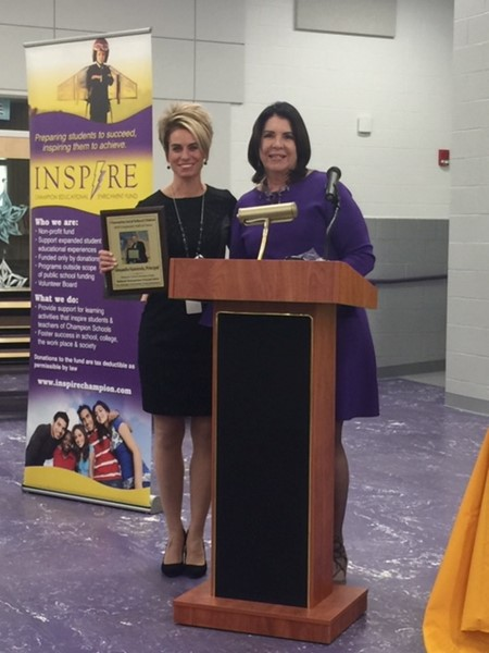 Mrs. Nannicola Central Principal Induction into Champion Schools Employee Hall of Fame for her State level recognition. Presented by Mrs Hood, Superintendent