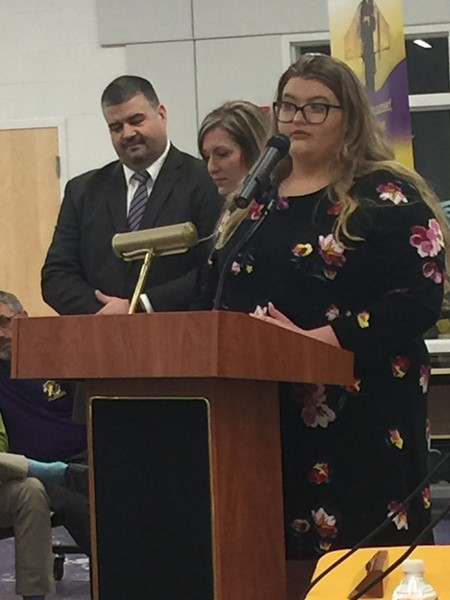 Champion High School's student leadership representative presents to the Board