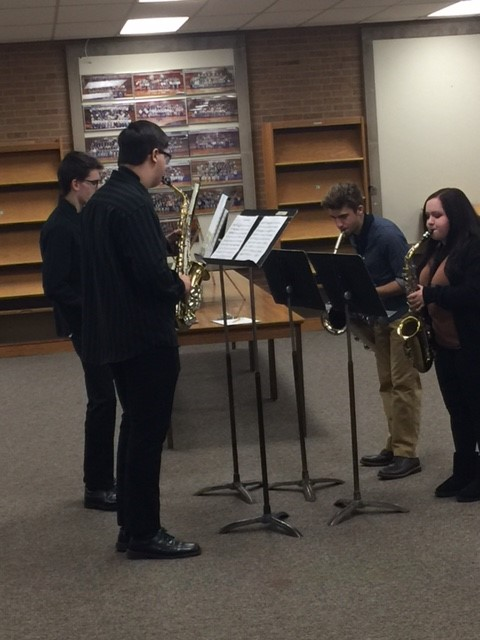 Champion High School Saxophone Ensemble performs for the Board