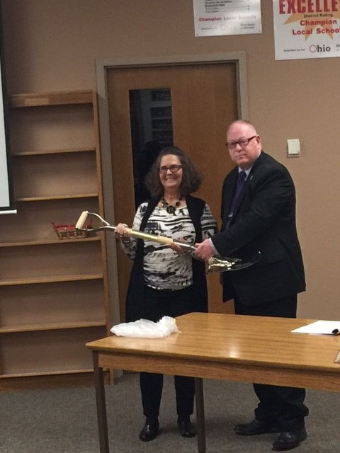 Mr. Boyle, BOE President presents commemorative shovel from the PK -8 groundbreaking ceremony to Historical Society. Accepting is Karen Vitalli, member.