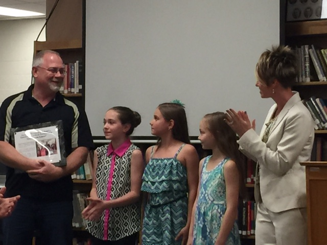 Mrs. Nannicola and Students Recognize Champion Lanes as the CES Business Partner for 2015-16