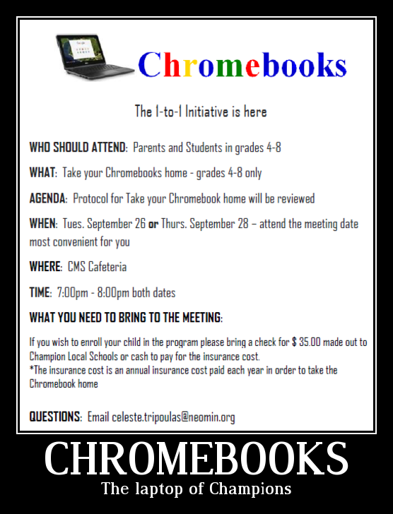 Final Chromebook Night is here! - Champion Local Schools