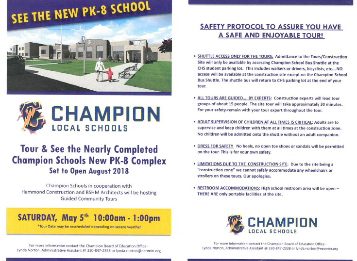 Tour information for new school on May 5